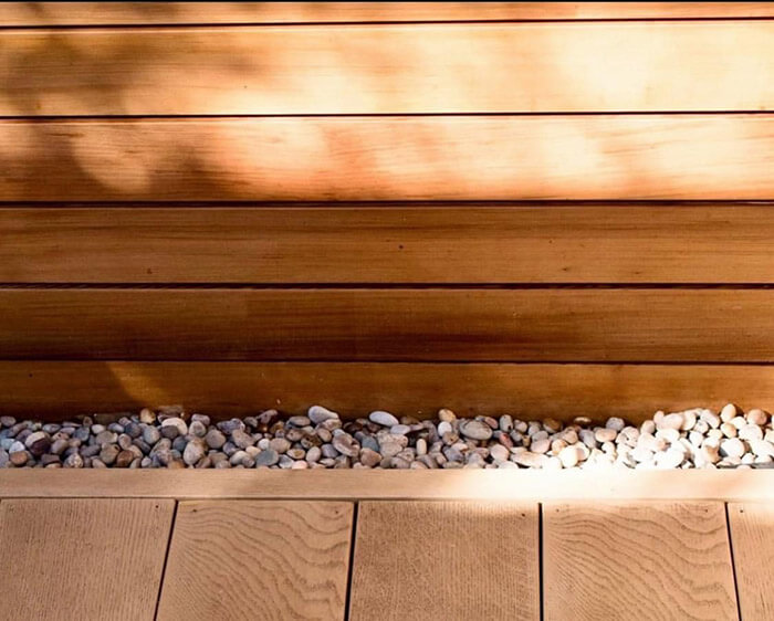 Timber deck with garden stones